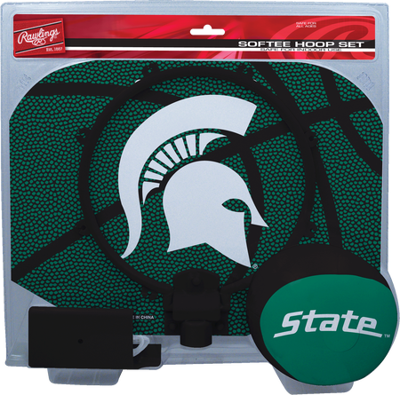 A green NCAA Michigan State Spartans hoop set with a green/black ball and team logo printed on the backboard