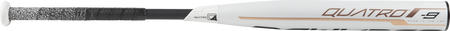 Barrel of a white FP9Q9 Rawlings 2019 Quatro softball bat with rose gold accents and black handle