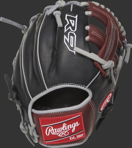 R9TR R9 Series infield training glove with a black back and grey binding/welting