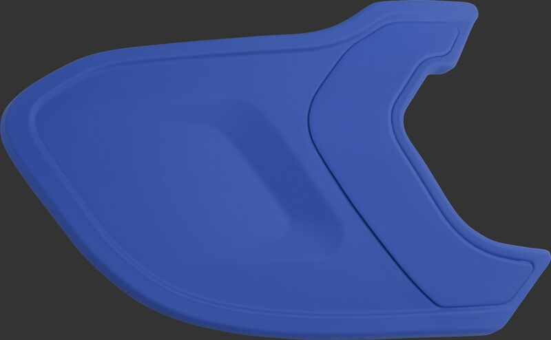 A matte royal MEXTR Mach EXT batting helmet extension for right-handed batters