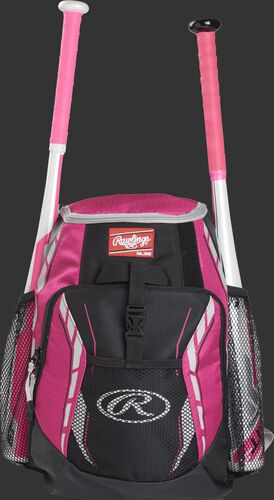 A pink R400 youth players team backpack with a bat in each of the side compartments