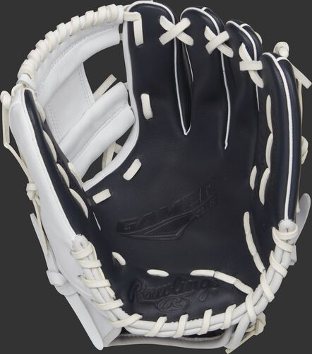 GXLE204-2NW Rawlings 11.5-inch GXLE baseball glove with a navy palm and white laces