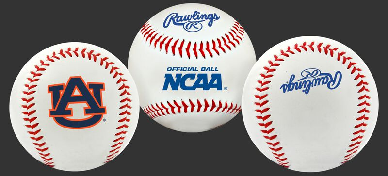 NCAA Auburn Tigers baseball with a team logo, NCAA logo and Rawlings logo