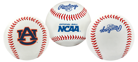 NCAA Auburn Tigers baseball with a team logo, NCAA logo and Rawlings logo