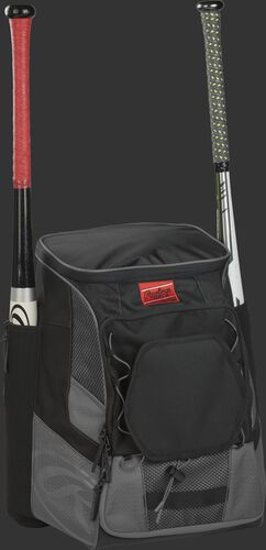 Front right of a gray/black R600 Rawlings players bag with two bats and Oval R printed on the bottom panel