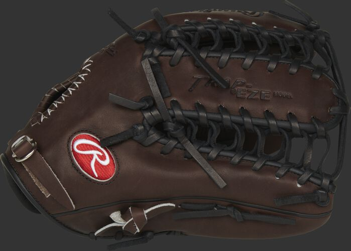 Thumb view of a chocolate PRO601CHBP 12.75-inch Heart of the Hide outfield glove with a Trap-Eze web