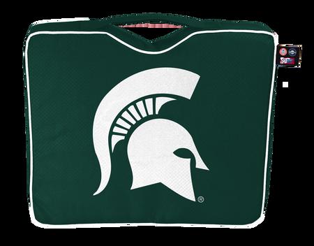 A green NCAA Michigan State Spartans bleacher cushion with a white team logo printed on the top