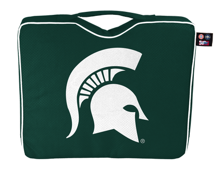 A green NCAA Michigan State Spartans bleacher cushion with a white team logo printed on the top