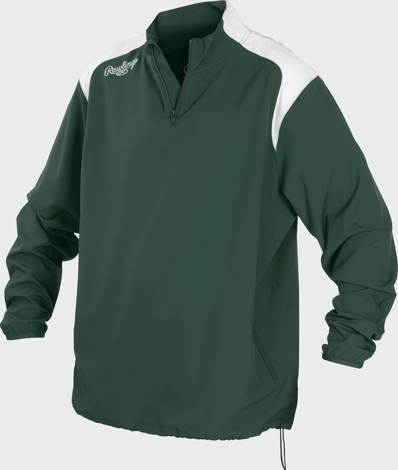 Front of Rawlings Dark Green Adult Long Sleeve Quarter-Zip Jacket - SKU #FORCEJ-B-88