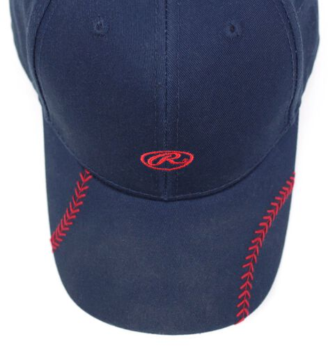 Top of Rawlings Women's Change Up Navy Baseball Stitch Oval-R Logo Hat - SKU #RC40000-400
