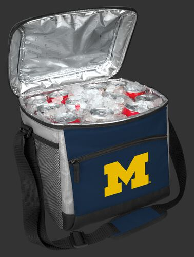 An open Michigan Wolverines 24 can cooler filled with ice and drinks - SKU: 10223083111