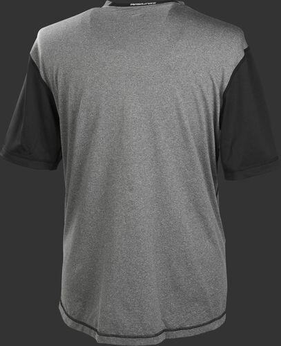 Back of a gray Rawlings Hurler short sleeve shirt with black sleeves - SKU: HSSP-GR/B
