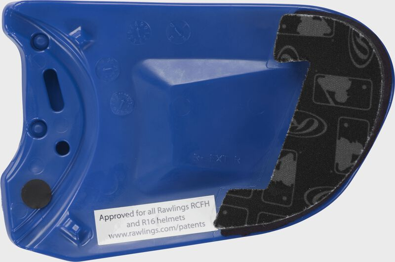 Padding on a royal REXT Rawlings R-EXT right handed universal batting helmet face guard extension