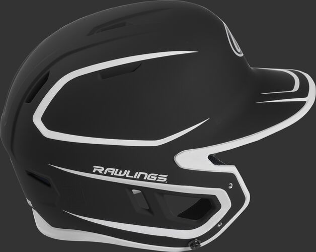 Right side of a two-tone matte black/white MACH helmet