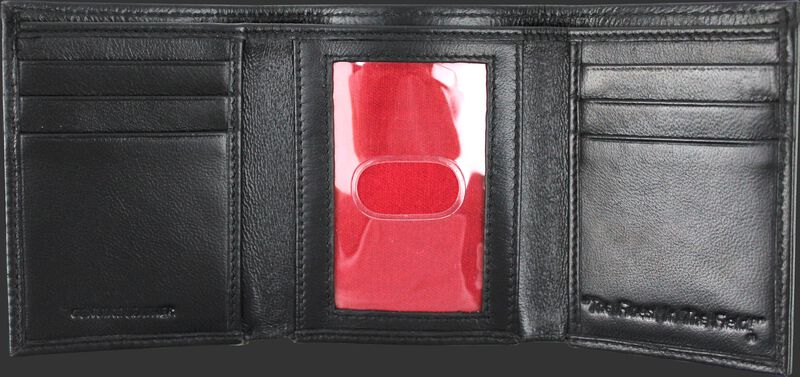 Inside of a black MW478-001 Rawlings tri-fold wallet with multiple credit card slots and clear ID window in the middle