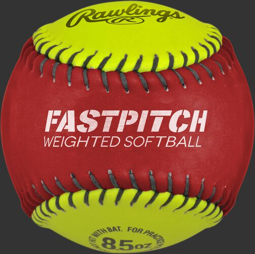 Red and yellow WEIGHTSB weighted training softball SKU #WEIGHTSB