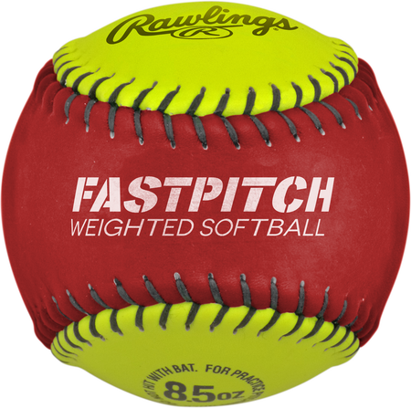 Red and yellow WEIGHTSB weighted training softball