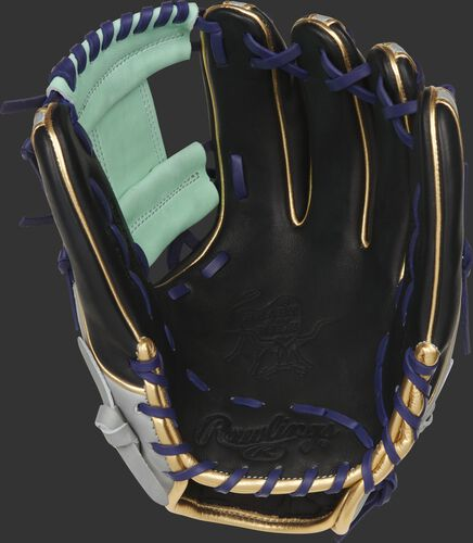 Black palm of a Rawlings HOH ColorSync 5.0 infield glove with an ocean mint I-web and purple laces - SKU: PRO315-2BP