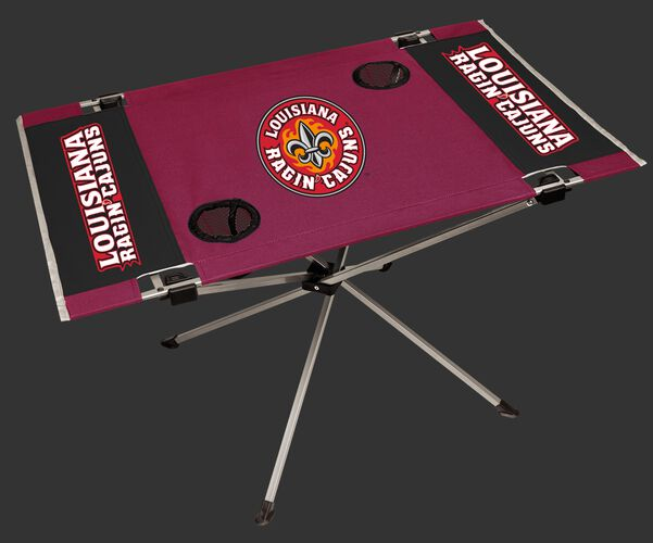 NCAA Louisiana Ragin' Cajuns Endzone table with team colors and team logos and two cup holders SKU #04053148111