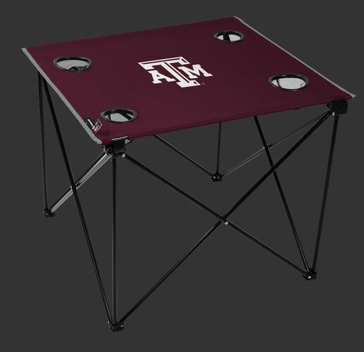A maroon NCAA Texas A&M Aggies deluxe tailgate table with four cup holders and team logo printed in the middle SKU #00713061111