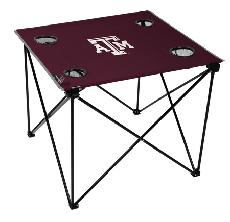 A maroon NCAA Texas A&M Aggies deluxe tailgate table with four cup holders and team logo printed in the middle