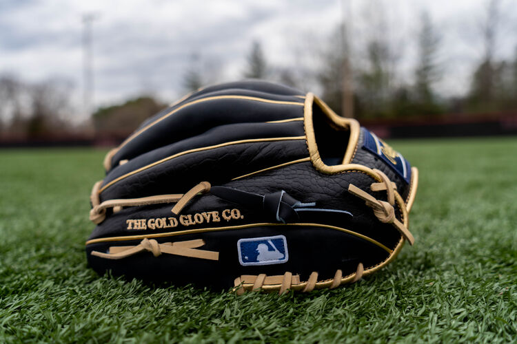 Back side of a Croc embossed HOH exclusive infield glove on a field - SKU: PRONP4-2NCC