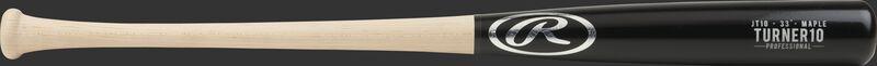JT10PL Justin Turner pro label maple wood bat with a black barrel and natural wood handle