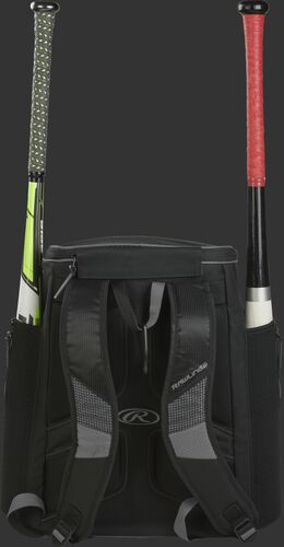 Back of a gray/black R600 Rawlings baseball backpack with two bats