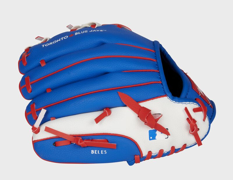 Back of a blue/white Toronto Blue Jays glove with the MLB logo on the pinky - SKU: 22000004111