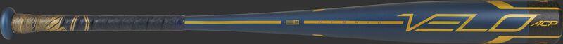 A navy 2021 Velo ACP BBCOR bat with gold accents - SKU: BB1V3