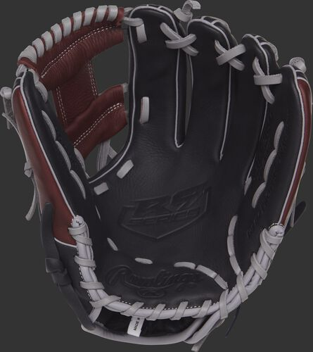 R9314-2BSG Rawlings 11.5-inch R9 series baseball glove with a black palm and grey laces