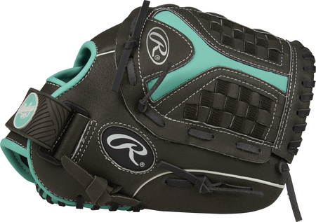 Thumb view of a black ST1100FPM Storm 11-inch infield glove with a black/mint Funnel web