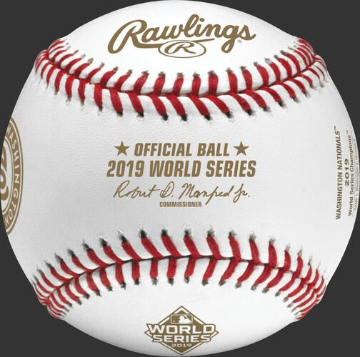 The official ball stamp on a WSBB19CHMP 2019 Washington Nationals World Series Champions baseball