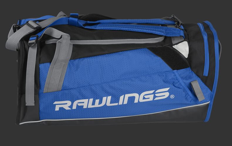 Side of a royal R601 Hybrid backpack/duffel players bag with black trim and a white Rawlings logo on the bat sleeve