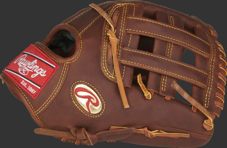 Thumb of a timberglaze PRO12-NA28 Gameday 57 Series Nolan Arenado glove with a gold Oval R and timberglaze H-web
