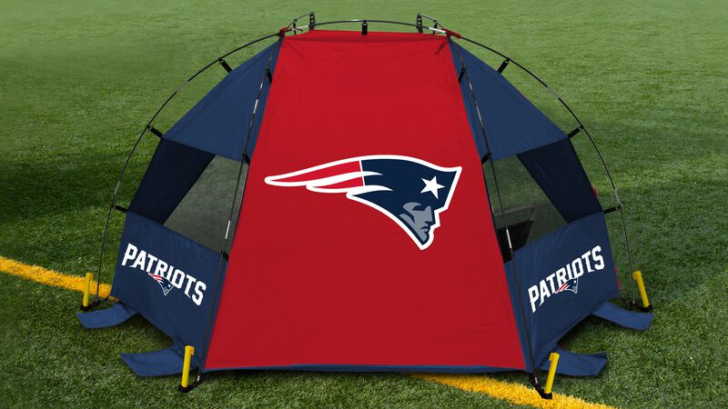 Back of a New England Patriots sun shelter set up on a field with a Patriots logo in the middle - SKU: 00961076111