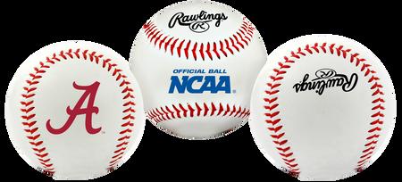 3 views of a NCAA Alabama Crimson Tide baseball with a team logo, NCAA logo and Rawlings logo