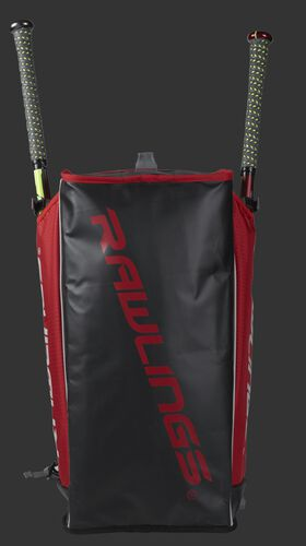 Bottom of a scarlet R601 Hybrid backpack with a scarlet Rawlings logo printed across the bottom