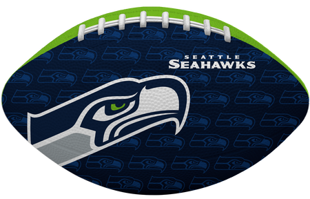 Navy blue side of a NFL Seattle Seahawks Gridiron football with the team logo