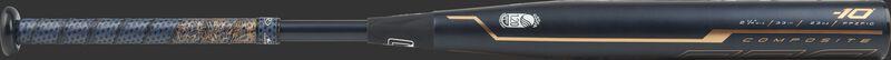 FPZP10 Rawlings Quatro Pro softball bat with a black barrel and navy/rose gold Lizard Skins grip