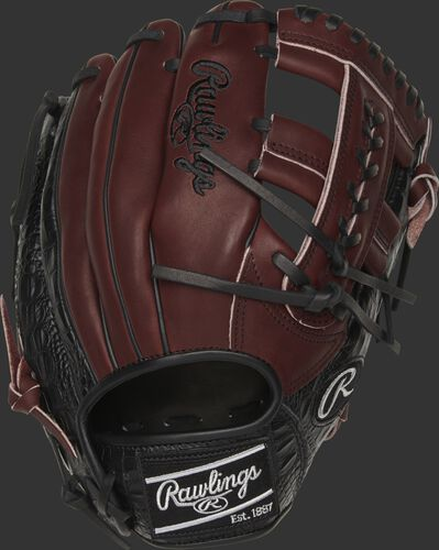 A Heart of the Hide exclusive infield glove with a dark sherry back and black croc-embossed leather trim - SKU: PROTT2-19SHC