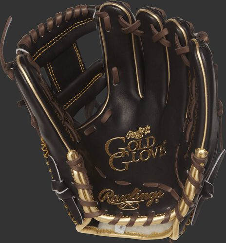 RGG314-2MO Rawlings Gold Glove series 11.5-inch baseball glove with a mocha palm and chocolate brown laces
