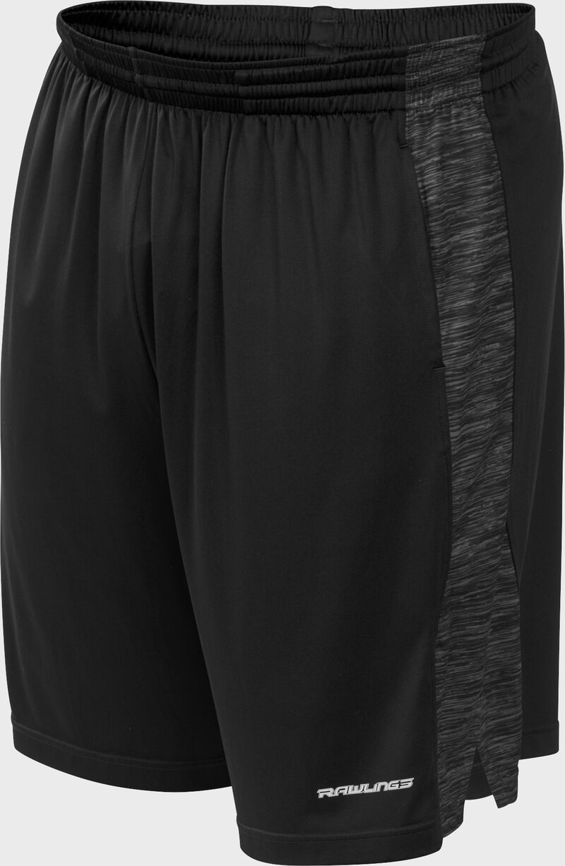 Front of Rawlings Black Adult Launch Training Shorts - SKU #LS9