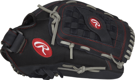 R130BGS Renegade 13-inch outfield glove with a black thumb and black Basket web with Support Strap