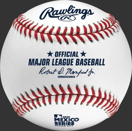 An official 2020 Mexico Series baseball with the Official ball of Major League Baseball stamp - SKU: ROMLBMS20