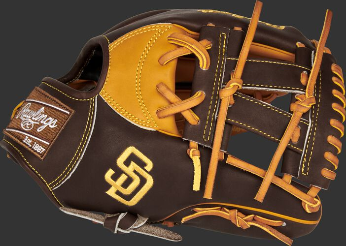 Thumb of a 2021 San Diego Padres Heart of the Hide glove with the Padres logo on the thumb - SKU: RSGPRONP4-7SD