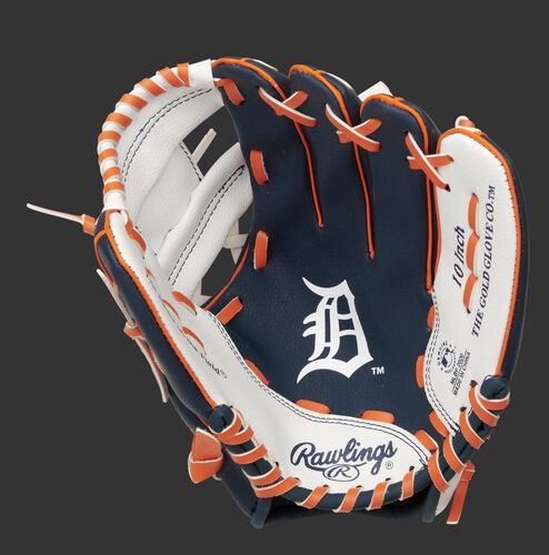 A navy/white Rawlings Detroit Tigers youth glove with the Tigers logo stamped in the palm - SKU: 22000027111