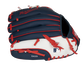 Back of a navy, white & red Minnesota Twins 10-inch youth glove with the MLB logo on the pinky - SKU: 22000028111 image number null