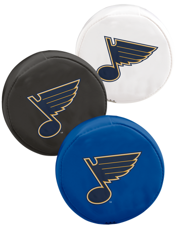 NHL St. Louis Blues 3 puck softee set with blue, black and white pucks with the Blues logo