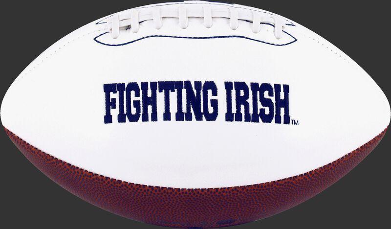 White NCAA Norte Dame Fighting Irish Football With Team Name SKU #05733093121